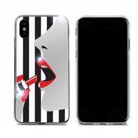 dreamplus iPhone XS / X STRIPE MIRROR CASE レッドリップ