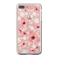 LIGHT UP CASE iPhone 8 Plus / 7Plus Soft Lighting Clear Case Flower Geranium (ローズゴールド)