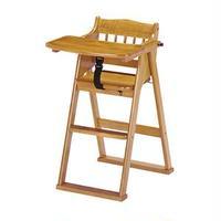 木製 チャイルドチェア/子供椅子 【ブラウン 幅480mm】 対象年齢:6ヶ月~5才頃 折りたたみ式 可動式テーブル 完成品【代引不可】
