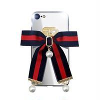 dreamplus iPhone 8/7 Mirror Ribbon Case ネイビー/レッド
