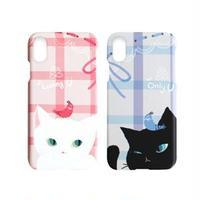 Happymori iPhone XS / X Cat Couple Bar ホワイト