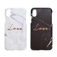 Happymori iPhone XS / X Marble love Bar ホワイト