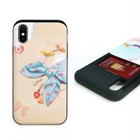 Happymori iPhone XS / X Card slide Dot Scarf ピンクスカーフ