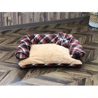 Pet Bed(ペットベッド)あご置きクッション付き パープル×キャメル