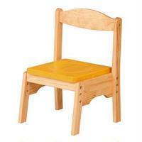 キッズチェア/子供椅子 【マスタード 幅350mm】 木製 スタッキング可 〔リビング プレゼント〕 組立品【代引不可】