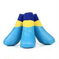 (まとめ)L'ange わんPAWプロテクト ベーシックブルー 4号 (ペット用品・靴)【×2セット】