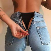 hip zipper denim pants