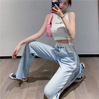 white line denim pants
