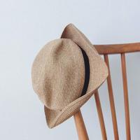 mature  ha. BOXED HAT  6.5cm brim grosgrain ribbon