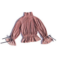 Velours pleats  ribbon tops / pink