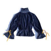 Velours pleats ribbon tops / navy