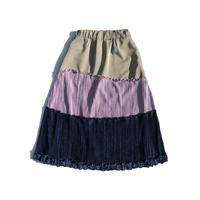 Wave velours pleats skirt / gray