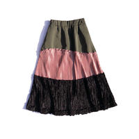 Wave velours pleats skirt / khaki