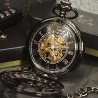 Tiedan 懐中時計 アンティーク ハイブランド メンズ スケルトン 機械式 ブラック ポケットウォッチ_01