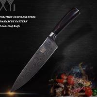 XYj ダブルスチールヘッド 木材ハンドルナイフ ダマスカスフルーツ野菜肉シェフナイフ