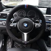 BMW スエードステアリングホイールカバー BMW F33 428i 2015 F30 320d 328i 330i 2016 M3 M4 2014-2016