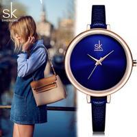 Shengke SK 女性腕時計 スリムトップレザーブランド時計 ブルーレディースドレス腕時計