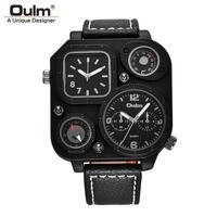 Oulm 限定版ユニークな黒腕時計 メンズスポーツクォーツ腕時計 二つのタイムゾーンクロック装飾コンパス 温度計