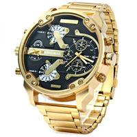 メンズクォーツ時計 男性 ゴールデンスチール時計 バンドデュアル ミリタリー腕時計 スポーツ