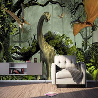 3D ステレオ 恐竜壁画 子供 キッズ 寝室 ホテル 背景 壁紙