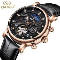 腕時計 メンズ 海外ブランド 自動巻き KINYUED ムーンフェイズ トゥールビヨン レザー ゴールド&ブラック_01