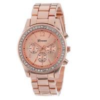 Lovesky ファッションフェイククロノグラフメッキクラシック ジュネーブ石英女性腕時計 クリスタル腕時計