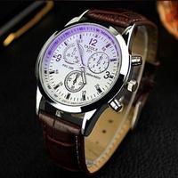YAZOLE ファッション レザーベルト スポーツ腕時計relogio 男性 ブラウンホワイト