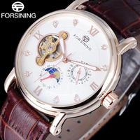 男性 ムーンフェイズ腕時計 機械式ドレスウォッチ ローマラインストーン ローズゴールド時計