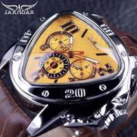 Jaragar メンズ腕時計 スポーツファッション トライアングル ブラウン レザーストラップ 高級腕時計 イエロー