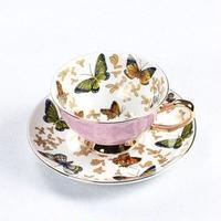 かわいいカップ コーヒーカップ 綺麗なカップ 蝶ティーカップ 英国 オフィスティーカップ ギフト