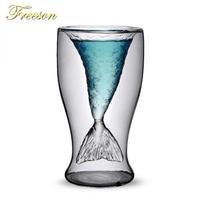 美しい人魚 人魚カクテルカップ きれいなグラス 100ml ワイン二重壁 ウォッカ ワイン ショットグラス