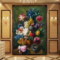 カスタムサイズ 壁画 壁紙 ヨーロッパスタイル ロマンチック 美しい油絵 花壁画 ホテル リビング 玄関