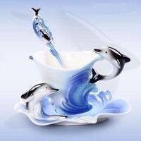エナメルコーヒーカップ 磁器 イルカ ヨーロッパカップ プレゼント