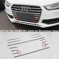 12ピース アウディ ステンレス鋼 車のフロントグリル 装飾カバー Audi A4 B8 2013-16