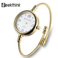 Geekthink ブランドクォーツ腕時計 女性ブレスレット レディースローズゴールド腕時計 リングスチールバンド