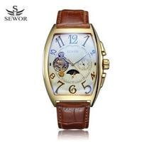 ムーンフェイズ スモセコ バックスケルトン 腕時計 トノー型 ゴールド×ホワイト SEWOR577A