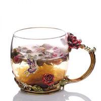 綺麗なカップ 赤いバラ エナメルカップ ロス詩 かわいいカップ クリスタルフラワーカップ 耐熱カップ