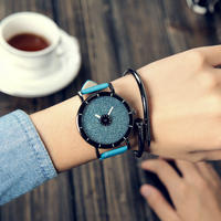 Pinbo 星空女性腕時計 高級クォーツレザーストラップ腕時計