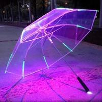 リブライトアップブレード led傘 透明ハンドルストレート傘 パラソル