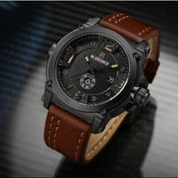 Naviforce メンズ腕時計 ラグジュアリー ミリタリー 日付 スポーツ クォーツ レザー 防水 ブラックブラウン