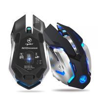 マウス 無線 ワイヤレス USB 高品質 ゲーミング HXSJ 2400dpi 6ボタン 2.4GHz 充電式 7色ライト