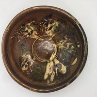 ルーマニア 古鉢(焦茶×白×紺×緑)