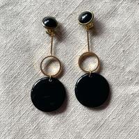 Earrings Black Gold