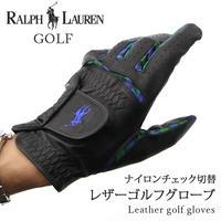 RALPH LAUREN ゴルフグローブ ナイロンチェック切替本革ゴルフ用手袋 右利き用