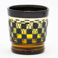 帯市松 ロックグラス -黒琥珀-