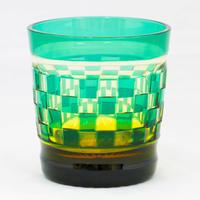 帯市松 ロックグラス -緑琥珀-