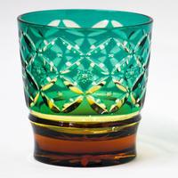 花七宝 ロックグラス -緑琥珀-