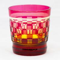 帯市松 ロックグラス -金赤琥珀-