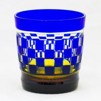 帯市松 ロックグラス -瑠璃琥珀-