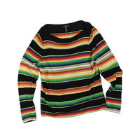 "USED ""LAUREN RALPH LAUREN"" MULTI BORDER BOATNECK KNIT"